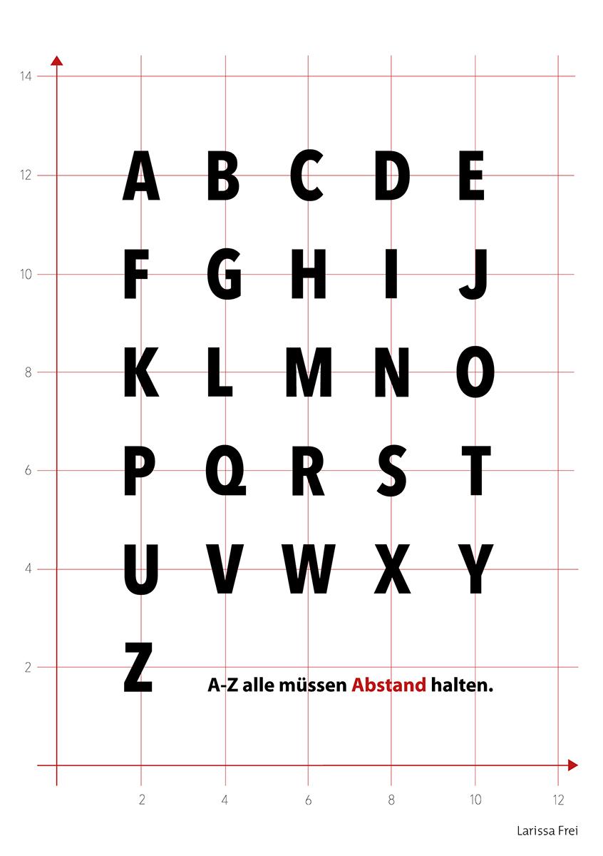Die Corona-Verhaltensregeln interpretiert in Semantischer Typografie – als gedruckte Karte umgesetzt im Home Schooling während dem Lockdown. Fachklasse Grafik, 2. Lehrjahr,Typografische Gestaltung, Lehrperson: Silvia Droz